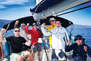happy sailing crew of 6 people